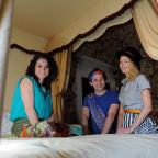 York Press: The cast  from the York Theatre Royal production of The Princess and the Pea try out a four poster bed for size, at Fairfax House, (from left) Danielle Bird (the princess), Oliver Mawdsley (the prince)  and Joanna Brown (the queen). Pic: Mike Tipping (987