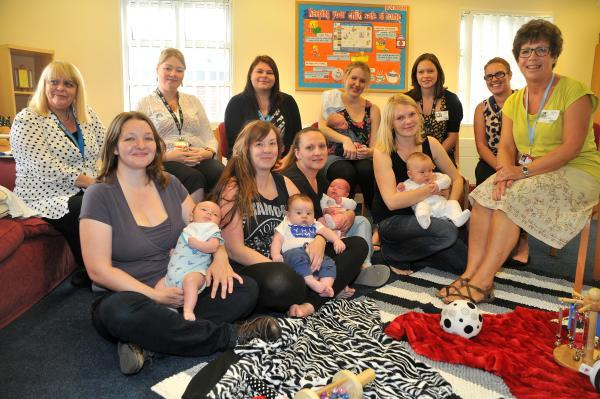 Lynn Fitzharris, right, the breast feeding lead for York Hospital Foundation Trust talks to mothers and staff at the Tang Hall Children's Centre during a Breast Feeding support group session
