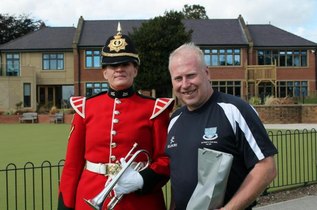 Lance Corporal Farthing of Fulford Barracks with Paddy Stephen of St Peter's School, one of the organisers of the event.