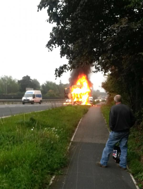 Lorry fire on A64: Updated 12.10pm