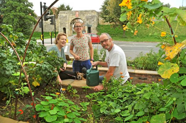 Michelle Burns, left, Chloe Smee and Jamie Searl at the Edible York site next the York Barbican