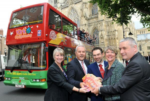 At the launch of York's first electric City Sightseeing bus at York Minster, from left, Mandy Gaughan, Jim Wallace, James Alexander, Jane Lady Gibson and Marcus Jenkins