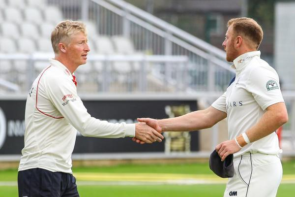 Yorkshire captain Andrew Gale, right, and Lancashire skipper Glen Chapple after the final day's play in the County Championship clash at Old Trafford, before news emerged of Gale's ban.               Picture: Alex Whitehead/SWpix.com