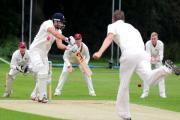 York batsman Dan Woods plays a ball into the covers against Sheffield Collegiate