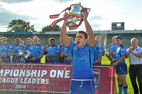 York City Knights captain Jack Lee lifts the Kingstone Press Championship One league leaders trophy.  Picture: David Harrison