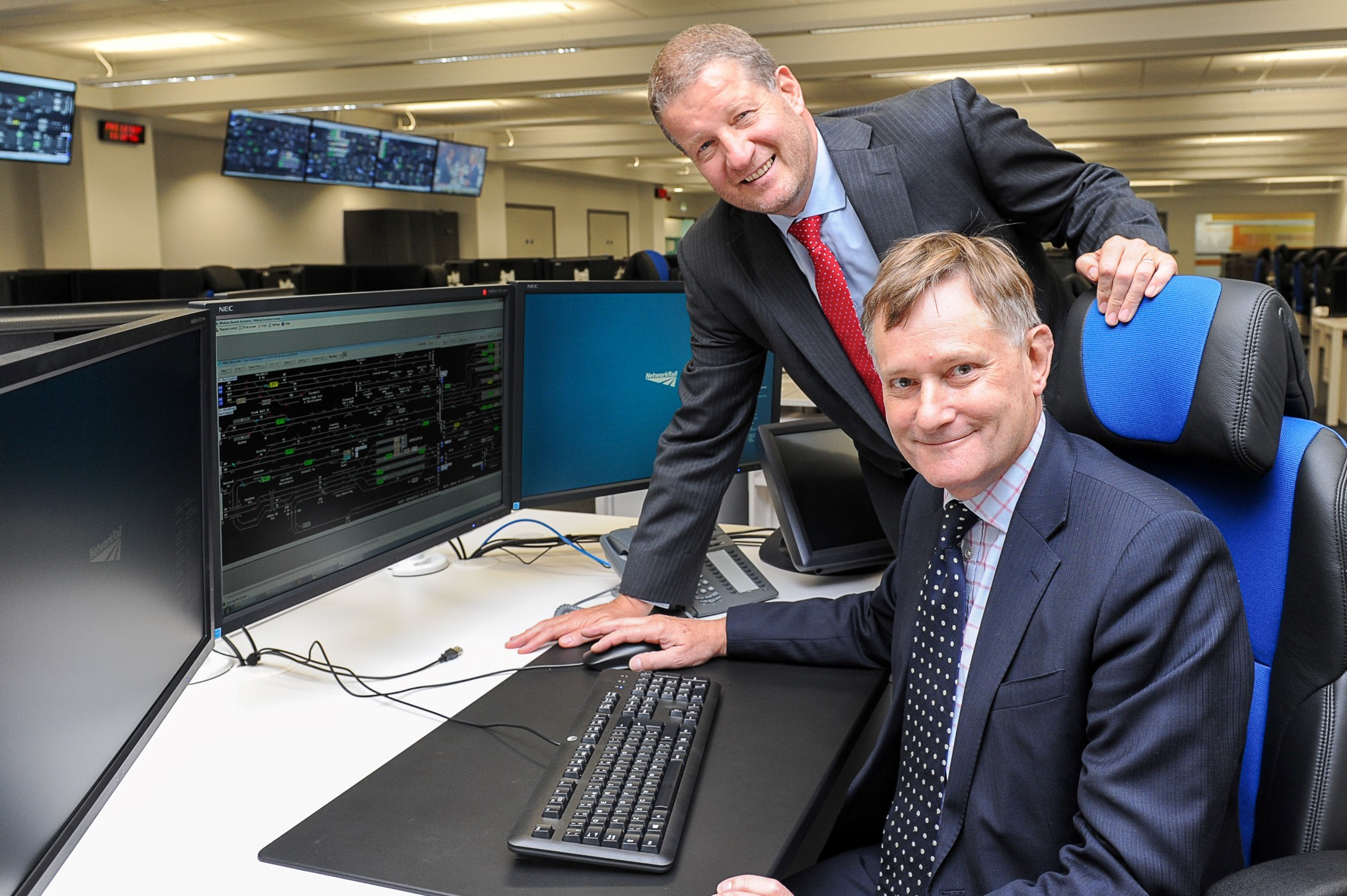 Hugh Bayley MP and Network Rail Route Managing Director, Phil Verster at the  York Railway operating centre opening