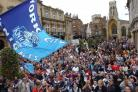 York City Knights fans gather in the city centre after the Knights' previous title success in 2005. The club want similar support to see them to promotion via the play-offs after this year's league-winning exploits