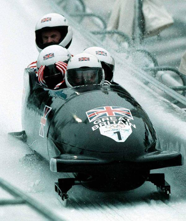 A Great Britain bobsleigh team from the past