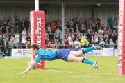 Ben Dent goes over to open the scoring for York City Knights against Hunslet Hawks