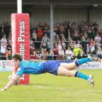 York Press: Ben Dent goes over to open the scoring for York City Knights against Hunslet Hawks