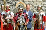 Michael Portillo films with the 6th Legion Roman Re-enactment Group in York for a DVD called York, Historical Capital of the North
