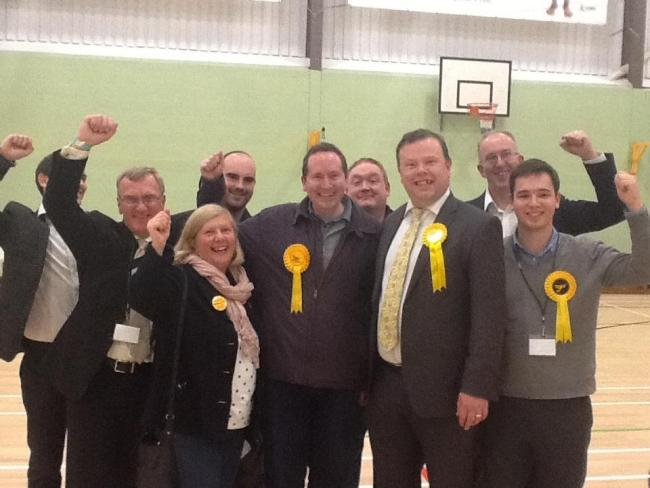 Andrew Waller celebrates with party colleagues