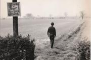 A walker on the footpath between New Earswick and Wigginton Road in May 1970.