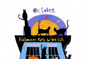 The month of October in Linda Combi's calendar features cats partying for Halloween