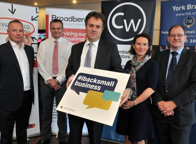 Julian Sturdy, who was a guest at Federation Small Businesses at Novotel York, with, from left, Ian Walker, David Brooklands, Jessica Roberts (Crombie Wilkinson) and Martyn Weller (York branch chairman)