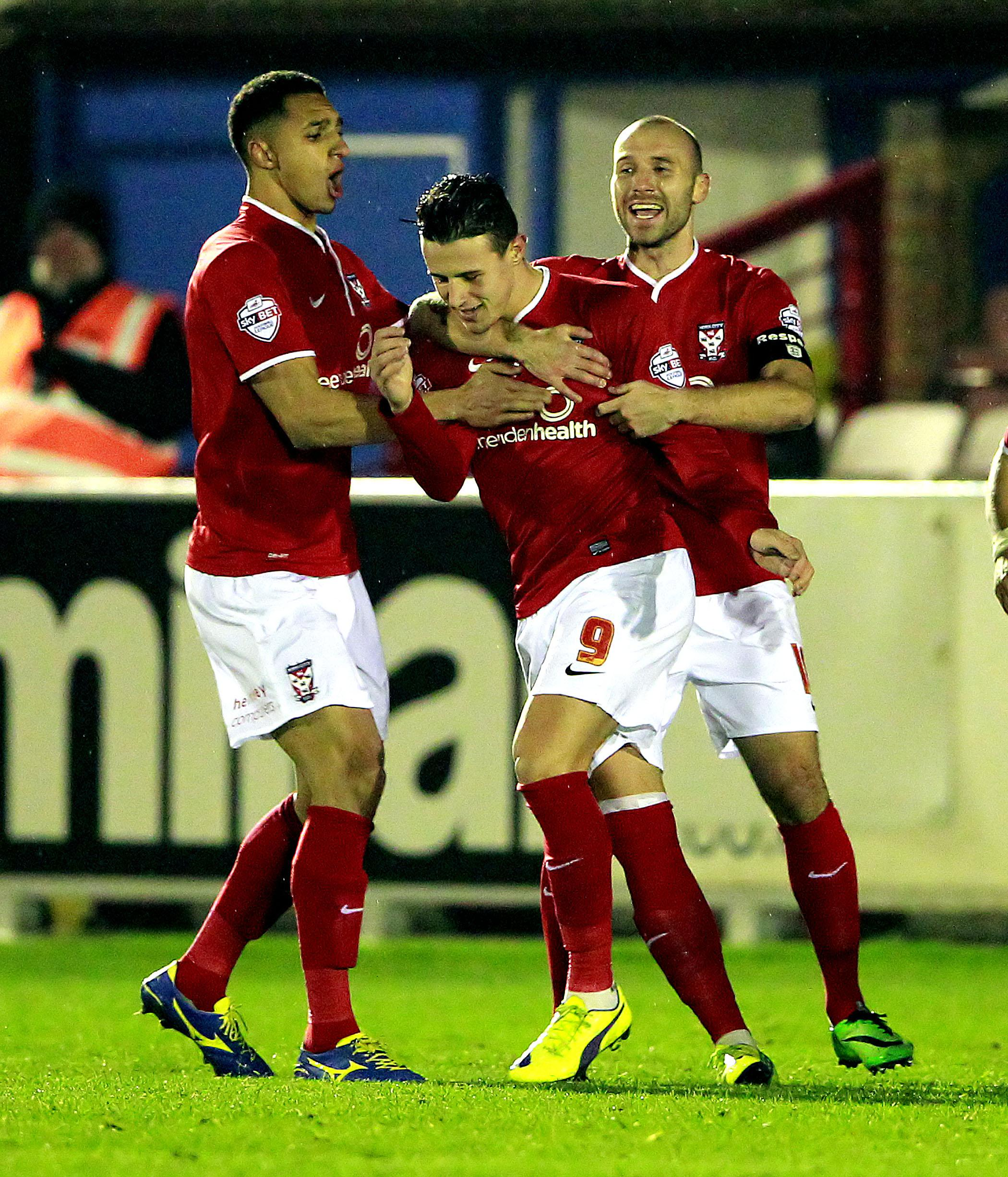 Wes Fletcher celebrates opening the scoring against AFC Wimbledon, but it went downhill after that as York City exited the FA Cup