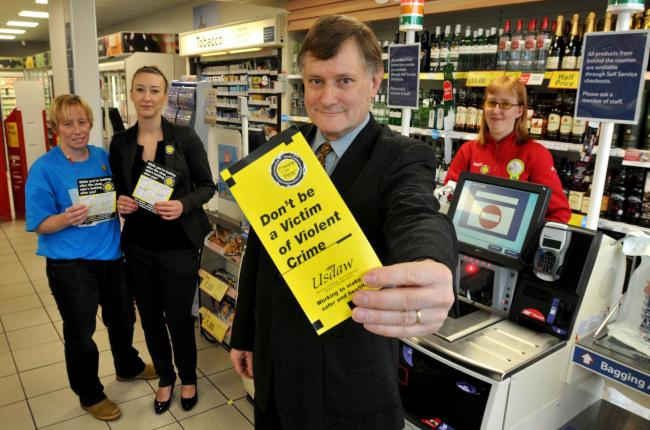 MP Hugh Bayley visits Tesco stores in York to show support for Usdaw's Respect for Shopworkers Week