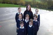 Marie-Louise Thirlaway with pupils