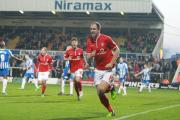 York City's two-goal hero Keith Lowe celebrates at Hartlepool