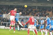 York City's Keith Lowe levels against Hartlepool United