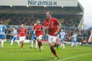 York City's Keith Lowe celebrates scoring his second goal  in Saturday's 3-1 victory at Hartlepool United in Sky Bet League Two