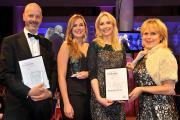 The joint winners of the Dare to Export category, Richard Shaw, left, of Ellis, and Cecily Fearnley and Lucy Hutchinson, of Nature's Laboratory, receive their awards from Kersten England, right, chief executive of City of York Council