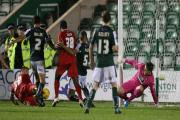 GOAL BOOST: Joint-top scorer Jake Hyde, pictured scoring against Plymouth, will return from suspension against Cambridge