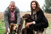 Rachel Kay with husband and business partner Richard and dogs JD and Monty.