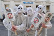 An anti-fracking protest outside Barclays bank in Malton last month