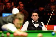 Ronnie O'Sullivan watches Judd Trump make a comeback during the final of the Coral UK Snooker Championship at the Barbican in York