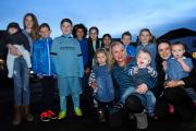 Little Blake Knaggs and his mum Louise (front) with Blake's friends wearing blue in Haxby in a bid to fundraise across York schools.