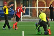 City of York I's Dan Ellwood turns away to celebrate his goal after beating the advancing Crewe keeper in the 10-5 victory in division one of the North Hockey League