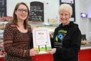Kathryn Tissiman, right, chairman of the York Fairtrade Forum and Cllr Linsay Cunningham-Cross with Fairtrade items and the Fairtrade certificate.