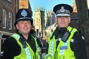 Chief Constable Dave Jones  with Acting Sergeant Nick Plumb in York city centre