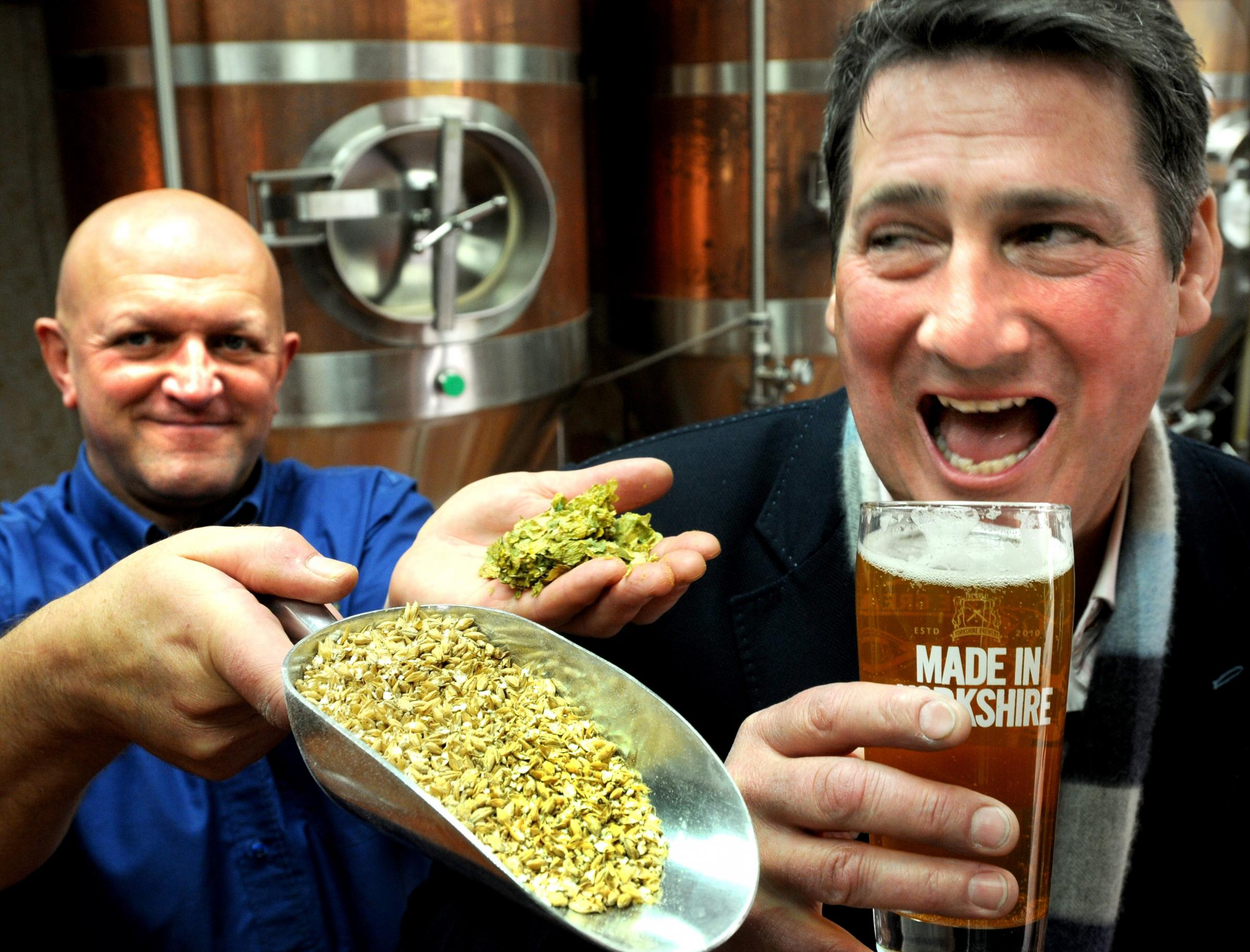 Spandau Ballet frontman Tony Hadley meets  the Yorkshire Brewery head brewer, Alan Jeffreys, during a visit to discuss his new beer, Hadley Blonde