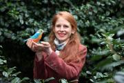Emily Sutton, with one of her hand-sewn birds which inhabit a magical forest at the Yorkshire Sculpture Park where her exhibition Town and Country opens on Saturday.