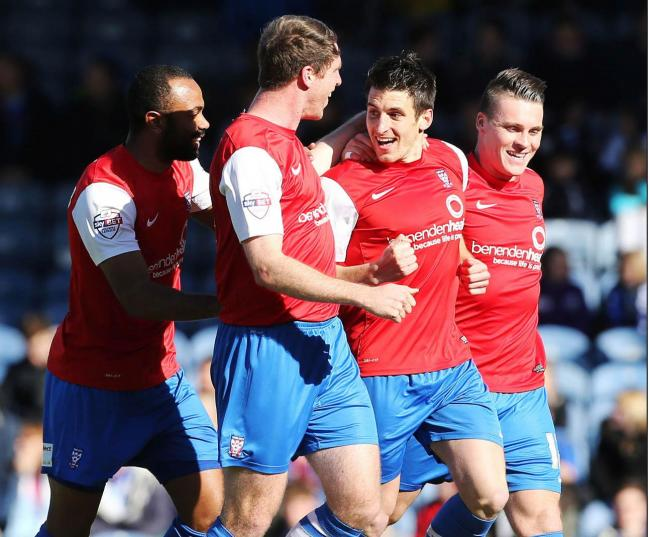 ROAD WARRIORS: York City celebrate a 1-0 win over Portsmouth last March
