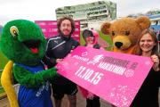 Yorkshire Cricketer Ryan Sidebottom with mascots and charity representatives and Plusnet's Caroline Richardson (front right) at the launch of this years Yorkshire Marathon. Picture: Anthony Chappel-Ross