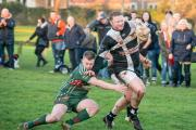 BOWLING ALONG: Sherburn Bears prop forward Rhys Hughes bursts through the West Bowling 'A' defence