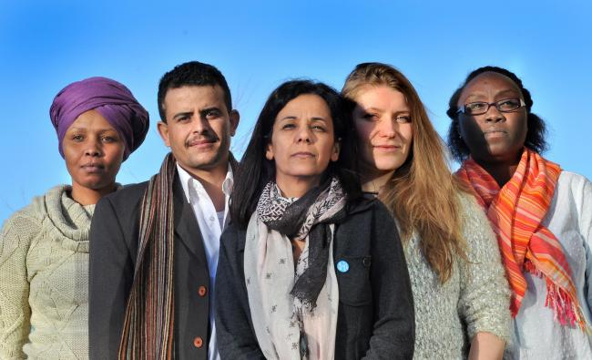 Human rights defenders at the Centre for Applied Human Rights at the University of York. From left: Ruth Mumbi from Kenya, Ahmed Al-Kolaibi from Yemen, Valdenia Paulino Lanfranchi from Brazil, Katsiaryna Borsuk from Belarus, Hikma Rabih from Sudan