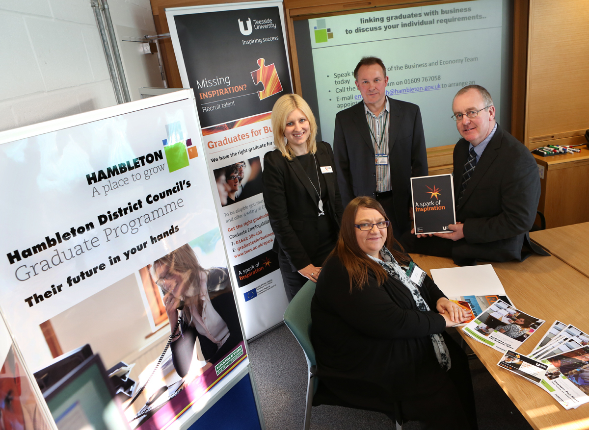 INTERN SCHEME: Julie Cole of Analox is seated with (L – R) Joanne Hughff from Teesside University; Ian Hopley, business and economy officer at Hambleton District Council and Cllr Mark Robson, council leader