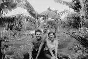Baroness von Wagner with her two lovers: Robert Philippson, left, and Rudolf Lorenz, in the garden of Hacienda Paradiso, Floreana Island, Galapagos. Circa 1932