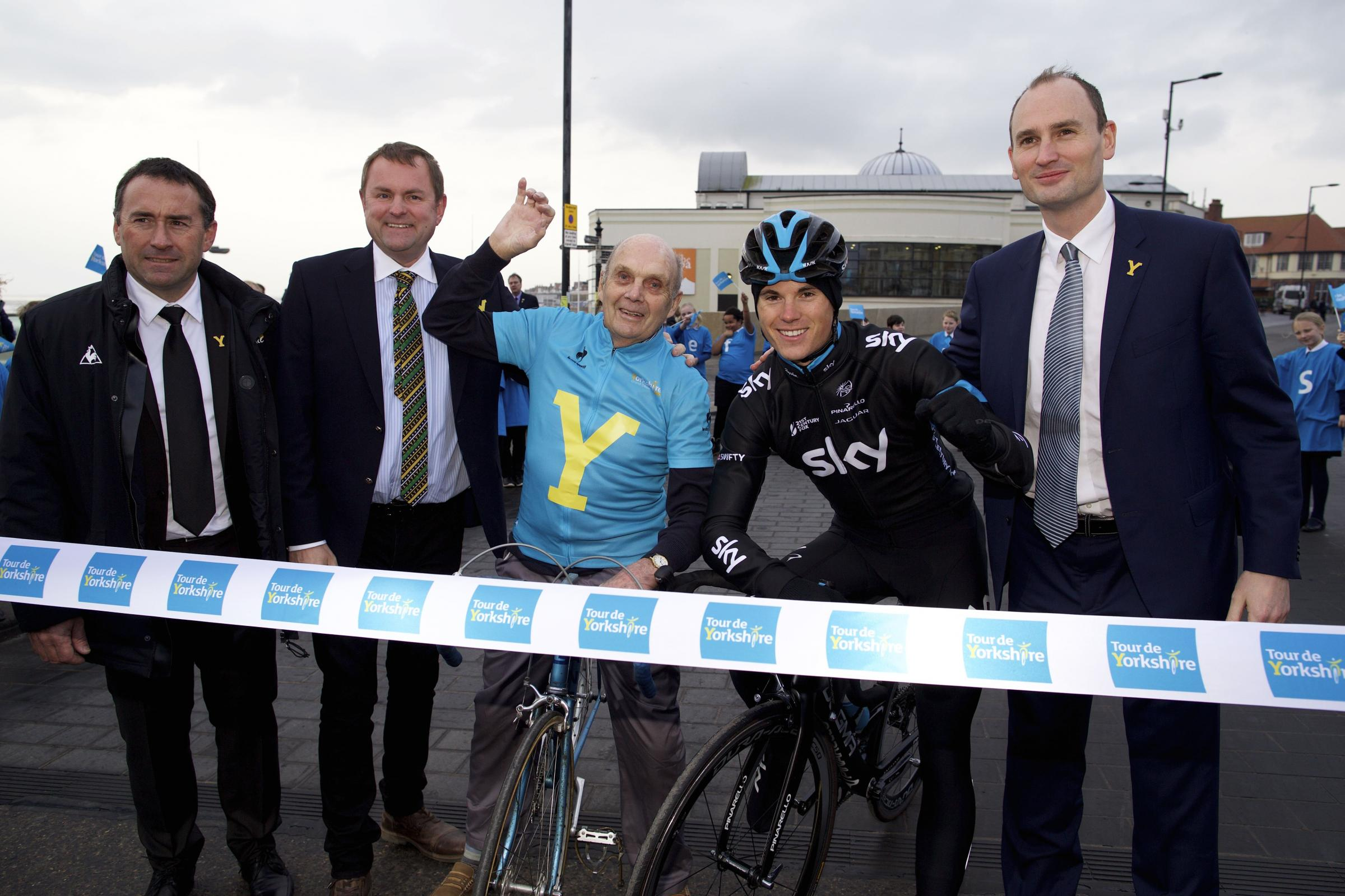 Announcing the race route, from left, Thierry Gouvenou, of the Amaury Sport Organisation, Welcome to Yorkshire chief executive Gary Verity, former racing cyclist Brian Robinson, Team Sky cyclist Ben Swift, and Jean-Etienne Amaury, of ASO