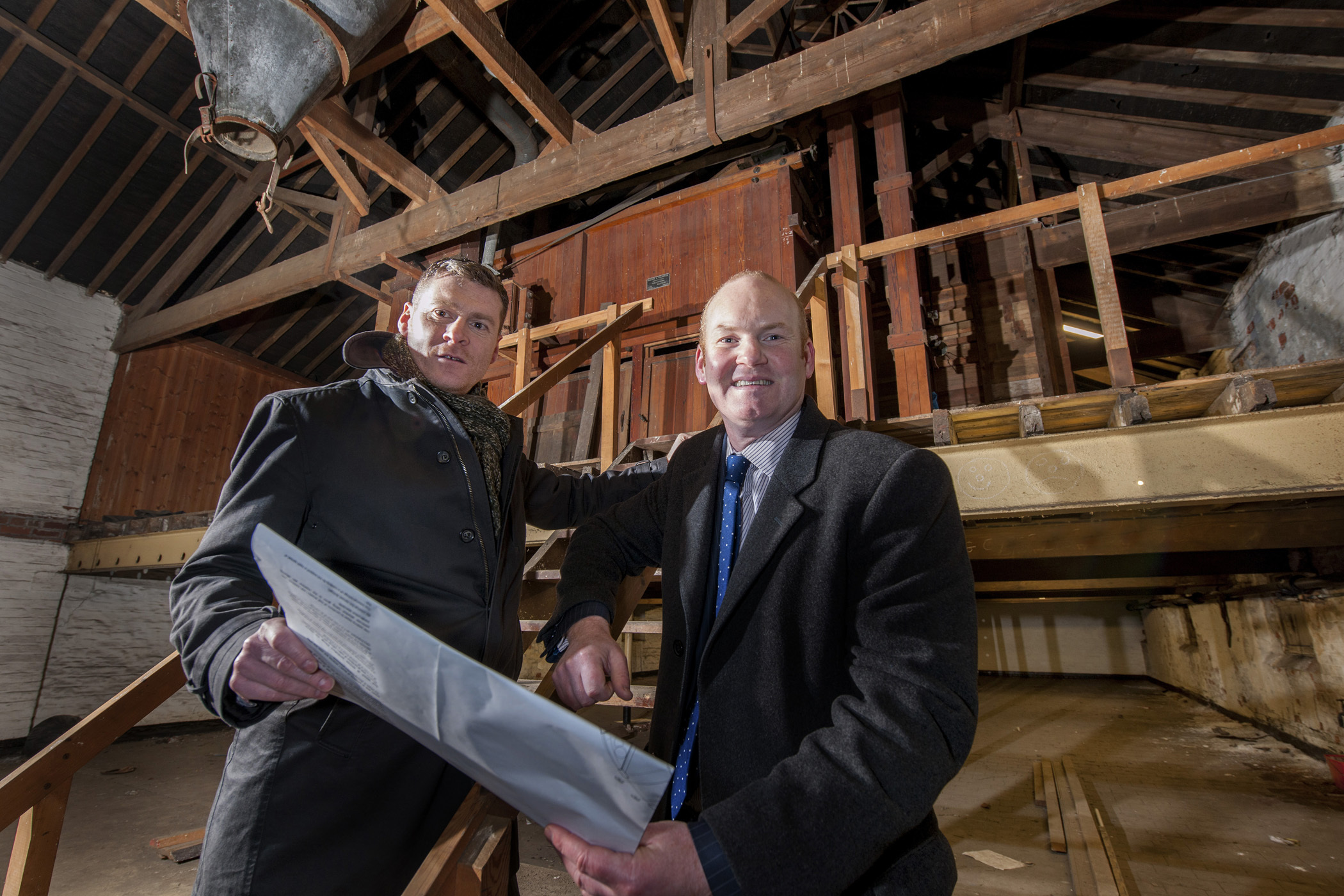 Pictured inside Clementhorpe Malting House, which will be transformed into six town house are, from left, Northminster Ltd managing director George Burgess and Northminster Ltd development surveyor Alastair Gill.