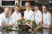 Frances Atkens (centre) with tutors at Bettys Cookery School.