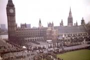 Sir Winston Churchill's funeral cortege leaving Old Palace Yard at Westminster, en route to St Paul's Cathedral