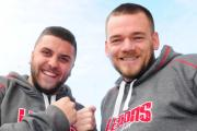 BELTING FORCE: Dean McQuade, left, and Dave Phillips ahead of the charity fight night