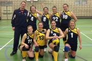 CHEERS: York Volleyball Club's women's team celebrate a win double in National League division three north