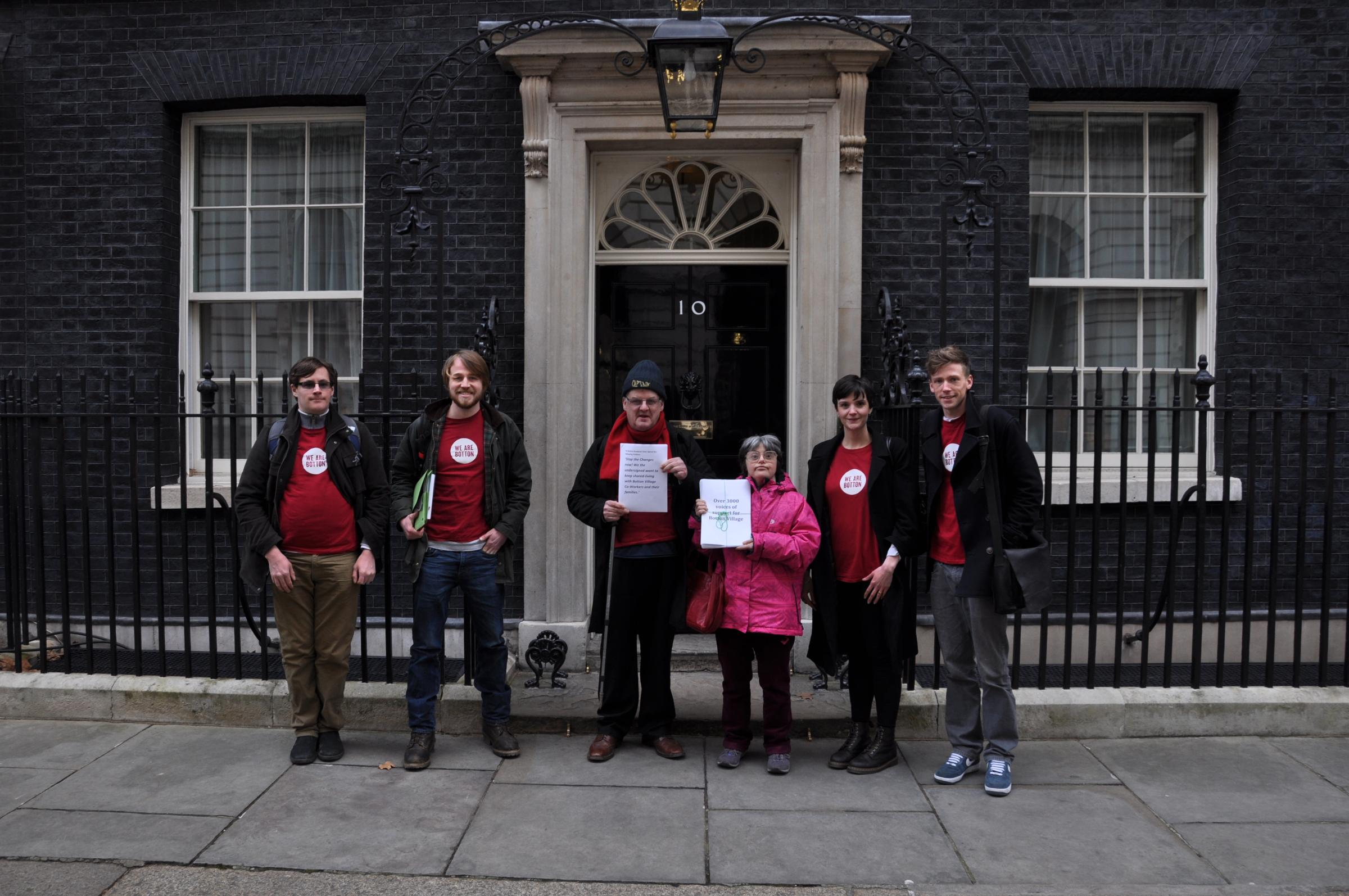 Pictured in Downing Street with their petition are, left to right, James Skinner, Eddie Thornton, Allan Hobson, Clare Burge, Lydia Gill Waring and Fionn Reid