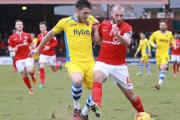 HOLDING OPERATION: York City's Russell Penn protects the ball from an Exeter challenge
